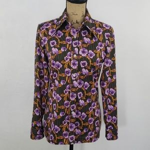 Vintage 70's olive green & purple flowered shirt